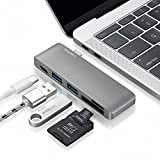 Type-C USB 3.0 5 in 1 Combo Hub for MacBook, Aluminum Multi-Port Adapter with USB-C Charging Port, Type-C Pass Through, 2 USB 3.0 Ports, SD/Micro Card Reader (Space Grey)