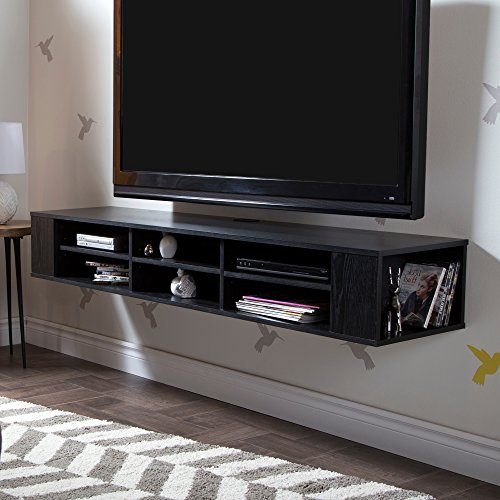"City Life Wall Mounted Media Console - 66"" Wide - Extra Storage - Black Oak - By South ()"