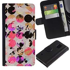 Be Good Phone Accessory // Caso del tirón Billetera de Cuero Titular de la tarjeta Carcasa Funda de Protección para Samsung Galaxy S5 V SM-G900 // Dots Circle Pattern Black Gold Purpl