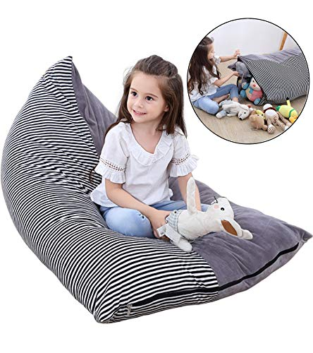 JUNSOAL Stuffed Animal Bean Bag / Stuffed Animal Storage / Stuffed Animal Storage Bean Bag Chair (Cover ONLY) with Soft Flannel - Extra Large by JUNSOAL