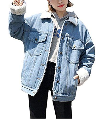 Emin Frauen Herbst und Winter Damen Mädchen Beiläufig Stilvoll Gewaschene Jeans Denim Jeansjacke Jacket Oberbekleidung Coats Mantel Vintage Langhülse Outwear Boyfriend Hellblau afCjDPI1