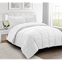 2pc Down Alternative Comforter Set - All Season Reversible Comforter with Two Shams - Quilted Duvet Insert with Corner Tabs -Box Stitched – Hypoallergenic, Soft, Fluffy(Twin/Twin XL, Pure White)