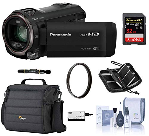 Panasonic Full HD Camcorder HC-V770, 20X Optical Zoom, Bundle Kit with Camcorder Case + 32GB SD Card + Memory Card Wallet + ProOptic Cleaning Kit + 49mm UV Filter + Lens Cleaner + Card Reader