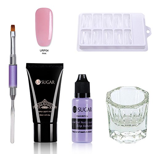 UR SUGAR 1Pc Poly Quick Gel Nail Kit Enhancement Builder Nail Extension Trial Kit Professional Technician French Kit-Including Brush Pen, Slip Solution, Dual Forms for Starter