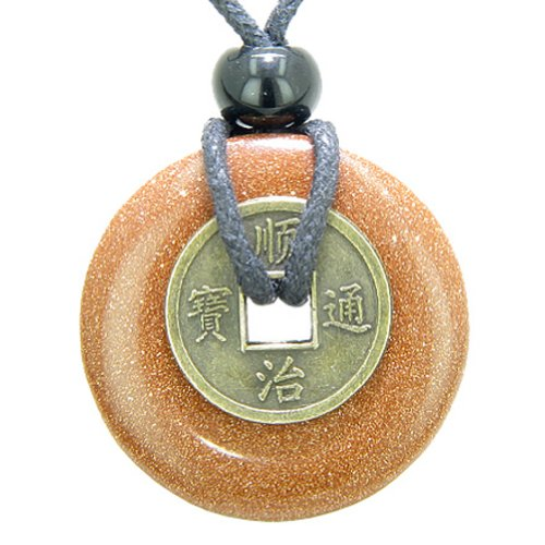 Antique Lucky Coin Good Luck Powers Amulet Goldstone 30mm Donut Pendant Necklace