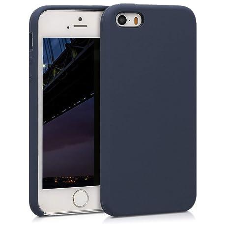 kwmobile Funda para Apple iPhone SE / 5 / 5S - Carcasa de [TPU] para teléfono móvil - Cover [Trasero] en [Azul Oscuro Mate]