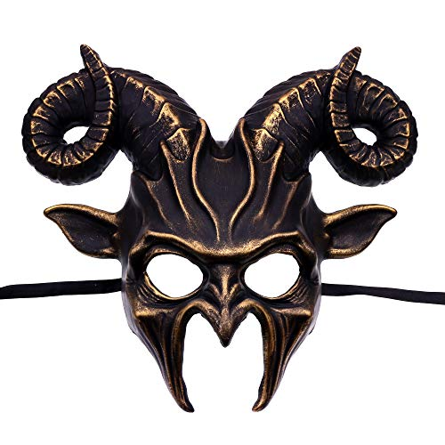 ILOVEMASKS Krampus Ram Demon with Horns Devil Halloween Mask - Black Gold -