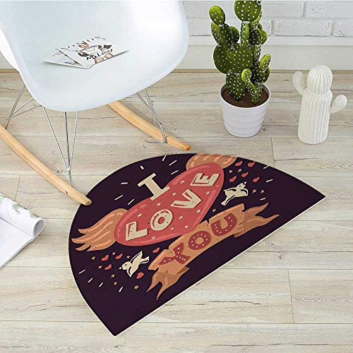 - Romantic Semicircular CushionHipster Grunge Illustration with Winged Heart Flying Birds Stars Entry Door Mat H 23.6
