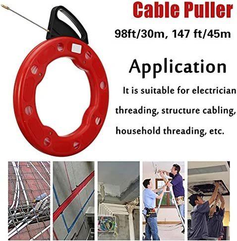 Wire Puller Fish Tape, Electrician Ducting Cable Conduit Construction Spring Head Flexible Rodder Nylon Wall Line,98ft/30m
