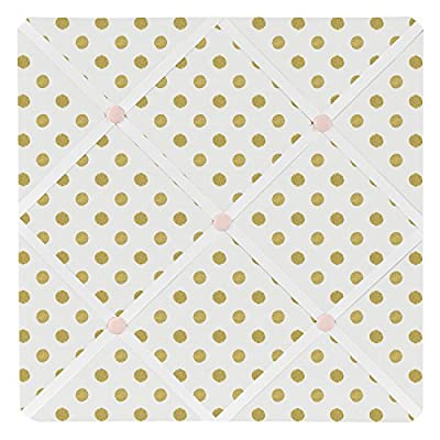 Sweet Jojo Designs Fabric Memory/Memo Photo Bulletin Board for Blush Pink White Damask and Gold Polka Dot Amelia Collection