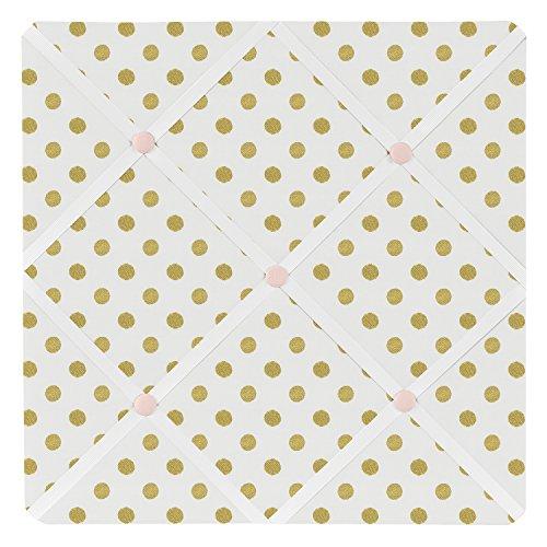 Sweet Jojo Designs Fabric Memory/Memo Photo Bulletin Board for Blush Pink White Damask and Gold Polka Dot Amelia Collection Fabric Photo Memo Board