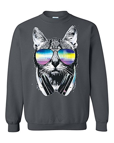 Artix Cool Cat with Headphones and Sunglasses Unisex Crewneck Sweatshirts Large Dark Heather (Zumiez Sunglasses)