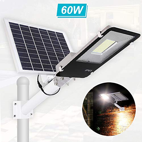 Solar Street Light 80W,Dusk to Dawn Solar Security Lamp 6500K IP65 Waterproof Solar Powered Flood Lights with Remote…