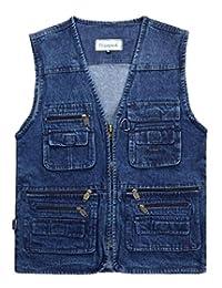 Jinmen Mens Casual Travel Waistcoat Multi-Pockets Zipper Denim Vests Jacket
