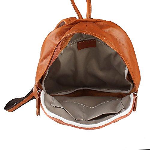 Unisex Rucksack Tasche mit verstellbaren Riemen aus echtem Leder Made in Italy Chicca Borse 30x39x14 Cm Bräunen Ueo26o8svk