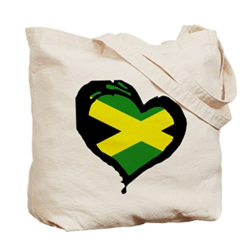 Jamaican Shopping Cloth Natural CafePress Canvas Bag Heart Tote Bag One f7qwg4