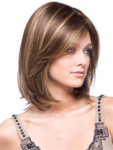 JYWIGS Middle Parted Bangs Short Wig for Women Brown mixed Blond Multicolor Heat Resistant Fiber Cosplay Replacement Hair with Wig Cap ()