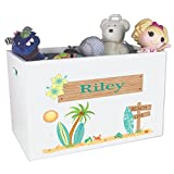Childrens Personalized Open Toy Chest For Nursery Surf decor Theme Beach