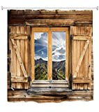 Goodbath Farmhouse Shower Curtain, Old Wooden Barn Door Window Pattern with Mountain Hill Sky Nature View, Waterproof Fabric 3D Bath Shower Curtains, 72 x 72 Inch, Old Wood