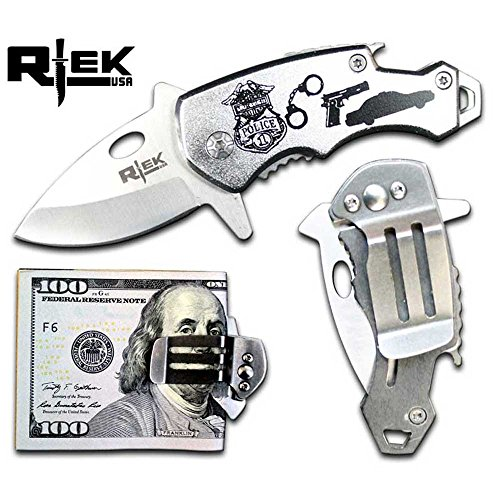 RTek USA Tactical Money Clip Bottle Opener Folding Spring Assisted Open Knife 7 Variations Army, Navy, Marines, Special Forces, Fire Department, Police, Air Force, (Police) ()