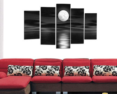 Sangu Gift 100% Hand-painted Hot Selling Paintings For Living Room Framed 5-Piece Sea White Full Moon in the Night Oil Paintings Canvas Wall Art for Home Decoration(12x24Inchx2,12x32Inchx2,12x40Inchx1)