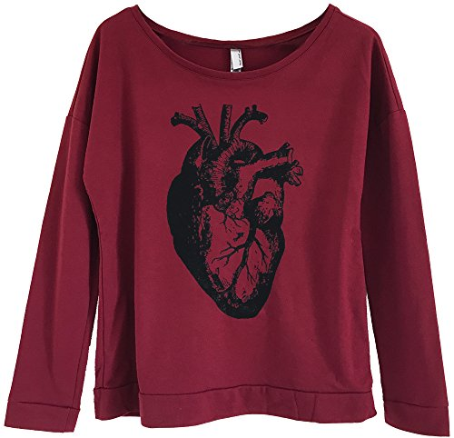 Friendly Oak Women's Anatomical Heart Slouchy Lightweight Sweatshirt - S - Scarlet Red