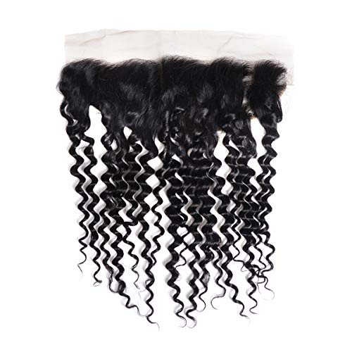 Human Hair Lace frontal 13x4 inch Swiss Medium Brown Lace Deep Wave Hair with Baby Hair 10 inch Hair Extensions (10 inch lace frontal) ()