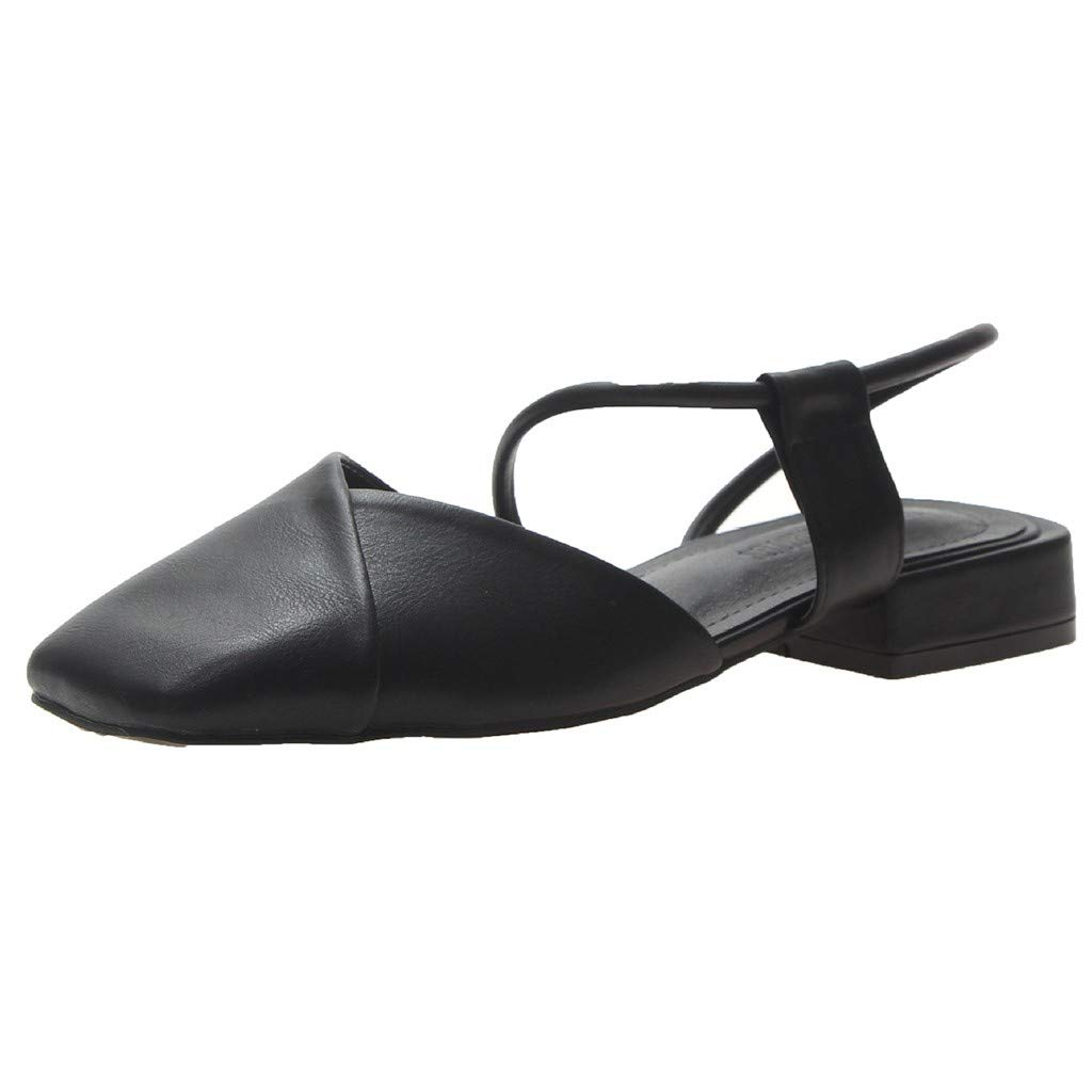 ✔ Hypothesis_X ☎ Women's Square Toe High Block Heels Slip On Pumps Shoes Elegant Square Heel Sandals Outside Shoes Black by ✔ Hypothesis_X ☎ Shoes