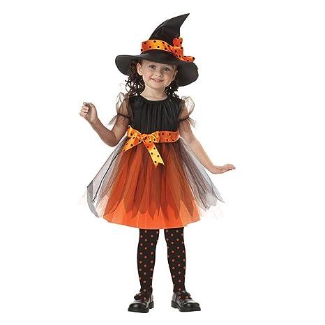 0dc24d4732b98 AMAA 子供服 ワンピース 女の子 ハロウィン 仮装 子供 ドレス + 帽子 2点セット リボン付き