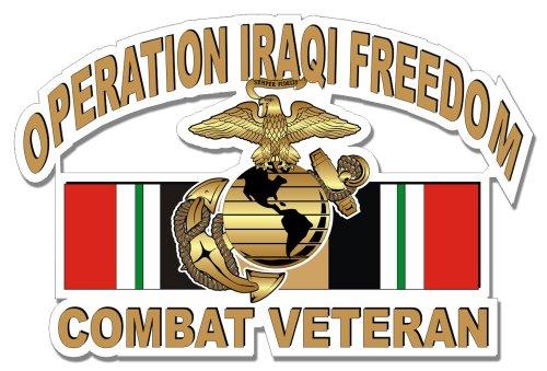 Marine Corps Decals USMC Operation Iraqi Freedom Combat Veteran Decal Sticker 3.8