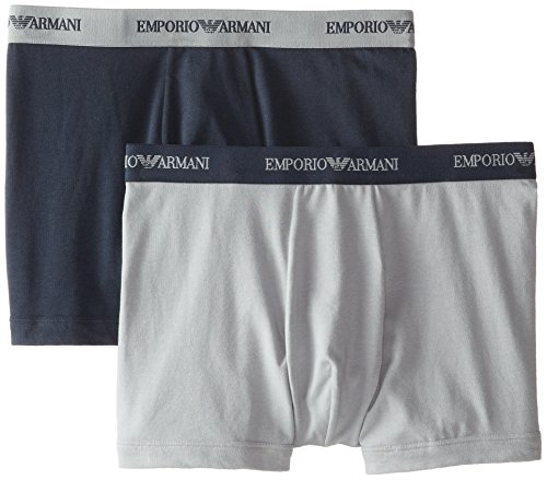 Emporio Armani Men's 2 Pack Cotton Boxer Brief, Grey/Marine, - Uk Men Armani