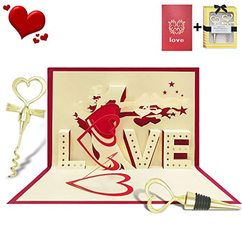 - Valentine Day 3D Pop Up Cards Gift - Heart Wine Beverage Bottle Stopper and Corkscrew Opener Set with Romantic Love Cards for Wedding Anniversary Engagement Mother's Day Lover Birthday Gift Set