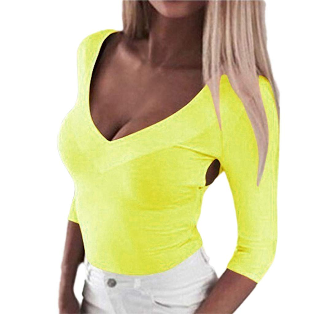 Kaitobe Womens Long Sleeve V-Neck Tops Casual Solid Criss Cross Backless Tunic Sweatshirt Pullover Blouse Tops Yellow