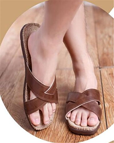Leather Women and Spring Autumn Floor Seasons Home TELLW Suction Bottom Indoor men Slippers Slippers Linen Waterproof Soft PU Four Men Summer coffee Sweat and Couple Cool TXzfUq