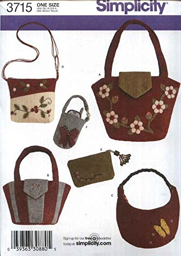 Simplicity 3715 Sew Pattern WASHED FELT BAGS & ACCESSORIES Tote, Purse, Cosmetic and Cell Phone Case