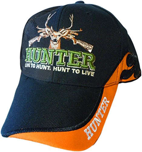 or Black Embroidered Hunters Baseball Cap