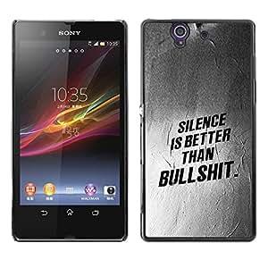 """For Sony Xperia Z Case , Silencio Mejor Lección texto Inspiring"""" - Diseño Patrón Teléfono Caso Cubierta Case Bumper Duro Protección Case Cover Funda"""