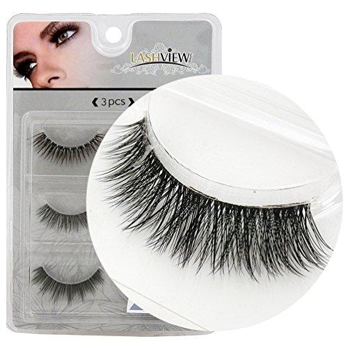 LASHVIEW 3Pairs Natural Voluminous Makeup Thick False Eyelashes Crisscross Soft Black Handmade Eye Lashes (858 Natural)
