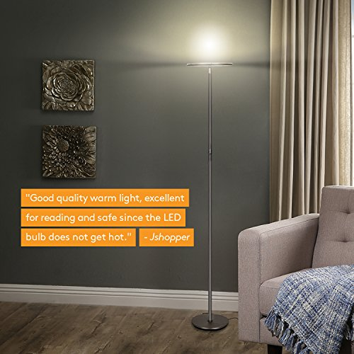 Brightech Sky LED Torchiere Super Bright Floor Lamp - Tall Standing Modern Pole Light for Living Rooms & Offices - Dimmable Uplight for Reading Books in Your Bedroom etc - Dark Bronze by Brightech (Image #5)