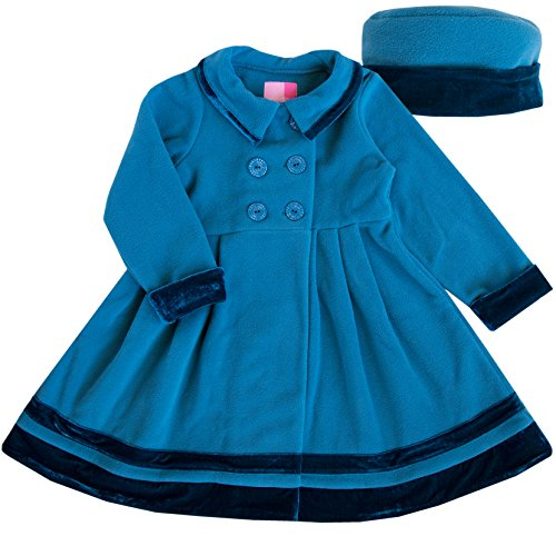 Good Lad 2/6X Girls Double Breasted Jewel Tone Fleece Coat with Velvet Trim and Matching Hat