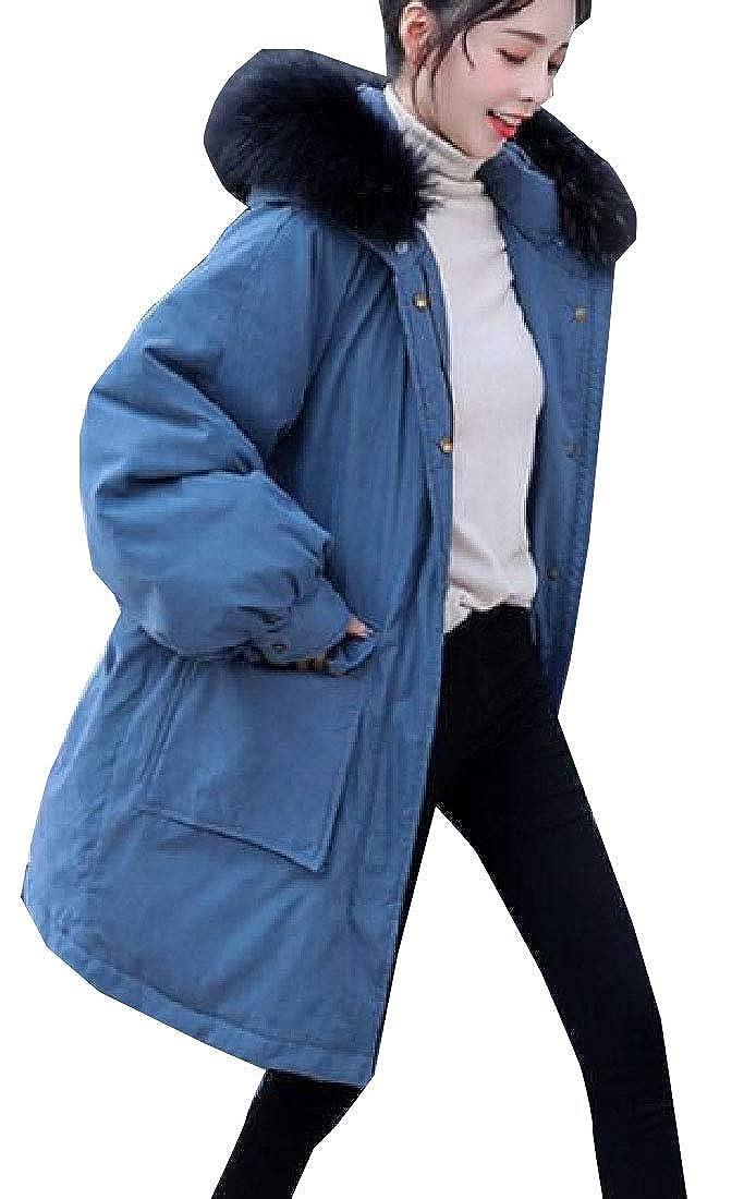 bluee jxfd Womens Long Sleeve Winter Faux Fur Hoodie Puffer Down Coat