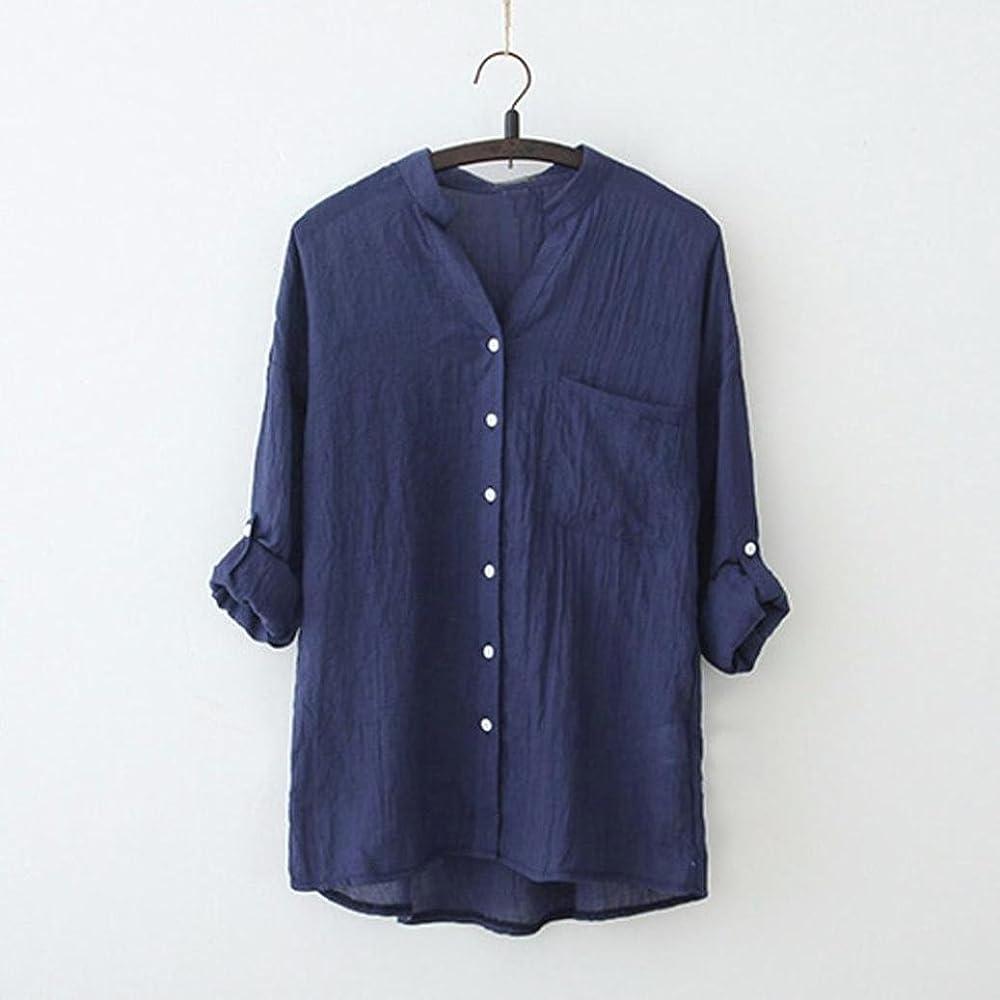 K-Youth Camisetas Mujer Tallas Grandes Cuello V Botones Camisetas ...