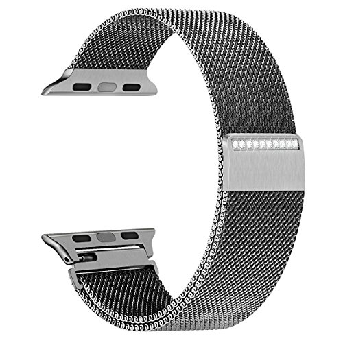 GEOTEL Bling Band Compatible Apple Watch Series 4(40mm 44mm) Series 3/2/1(38mm 42mm) Stainless Steel Milanese Loop with Rhinestone Adjustable Magnetic Closure Replacement for iWatch Band