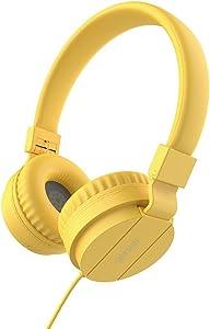Headphones for Children Lightweight Stereo Folding Wired Headphones for Kids Adults Adjustable Headband Headset for Cellphones Smartphones iPhone Laptop Computer Mp3/4 Earphones (Yellow)