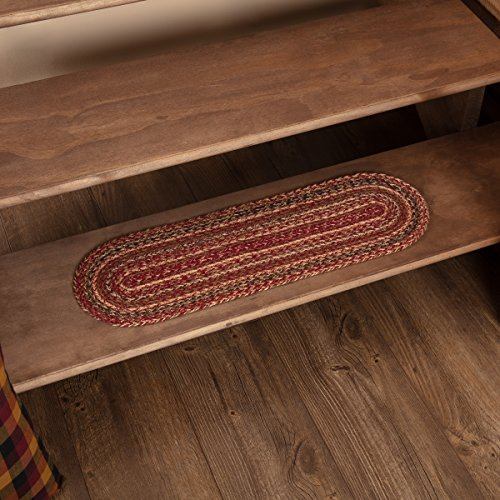 VHC Brands 45590 Burgundy Red Primitive Country Flooring Cider Mill Jute Stair Tread with Latex ()