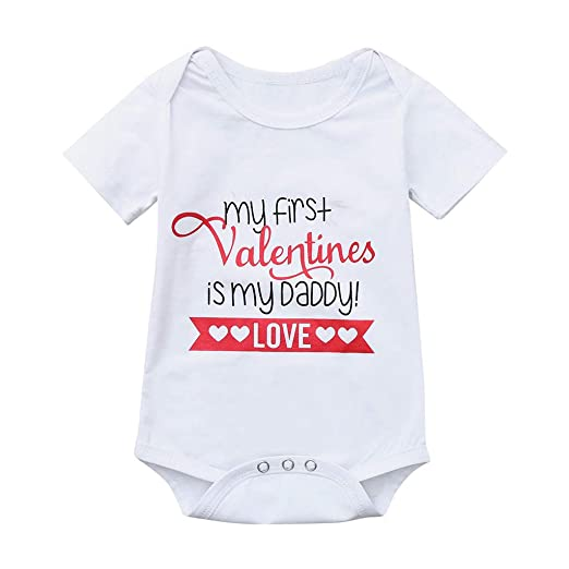 eb803fef3264 Newborn Baby Jumpsuit Outfit Infant Girl Letter Short Sleeve Bodysuits  Rompers Valentine Clothes (Age