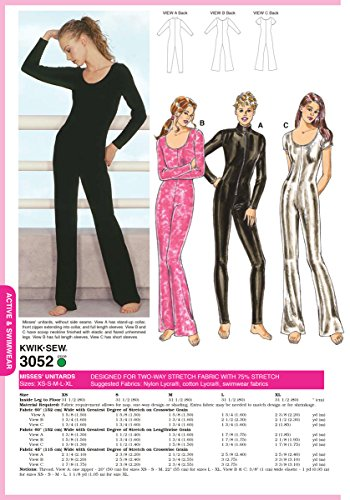 Kwik Sew K3052 Unitards Sewing Pattern, Size XS-S-M-L-XL