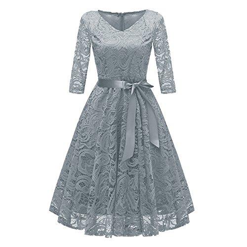iLUGU Midi Dress For Women Half Sleeve V-Neck Bowknot Belt A-Line Empire Line Floral Lace Princess Cocktail Party Gown
