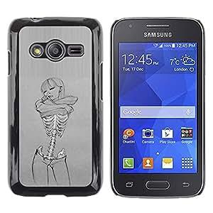 Paccase / SLIM PC / Aliminium Casa Carcasa Funda Case Cover - Skull Sexy Girl Grey Woman Skeleton - Samsung Galaxy Ace 4 G313 SM-G313F
