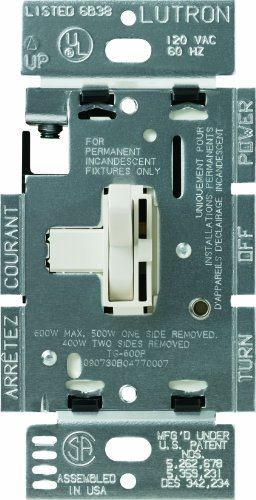 Lutron Toggler Dimmer Switch for Halogen and Incandescent Bulbs, Single-Pole, AY-600P-LA, Light Almond